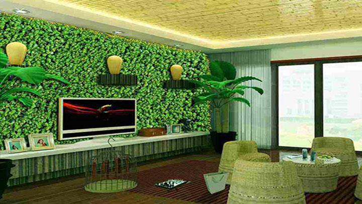 客厅绿色植物背景墙