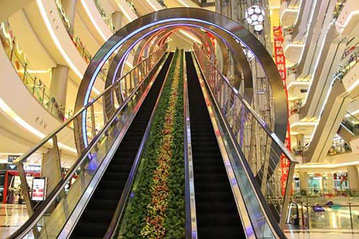 商场扶手电梯创意植物装饰